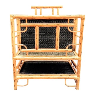 Vintage Large Tiger Stripes Fretwork Bamboo Magazine Stand Rack For Sale