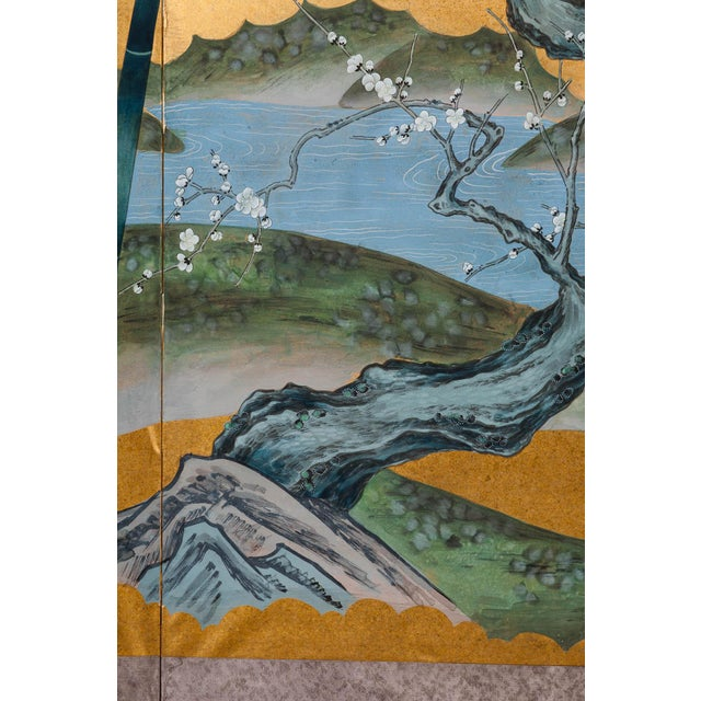 """Metal Sung Tze-Chin Chinoiserie Hanging Screen Ink on Gold Foil """"Red-Crowned Cranes at the River"""" For Sale - Image 7 of 12"""