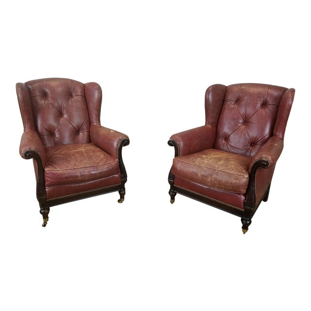 Lillian August Leather Wing Back Armchairs - A Pair - Image 1 of 10