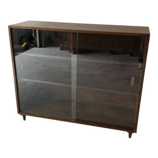 Midcentury Walnut Deep Standing Bookcase For Sale
