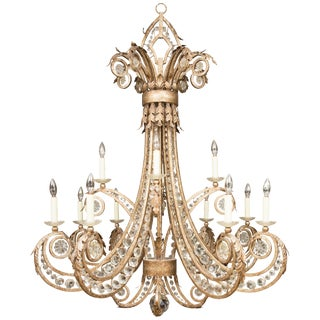 Iron and Crystal Twelve-Light Chandelier For Sale