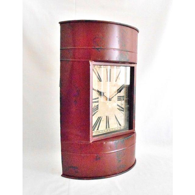 Vintage Metal Barrel Clock For Sale - Image 5 of 11