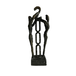 Signed Modernist Bronze Art Sculpture/ Dutch Modernist Friendship Love Metal Statue/ European Abstract Art Object For Sale