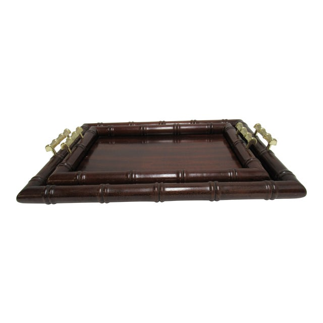 1990s Vintage Bombay Company Faux Bamboo Stacking Trays - A Pair For Sale