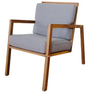 Luchtig Walnut and Upholstered Cushion Lounge Chair For Sale