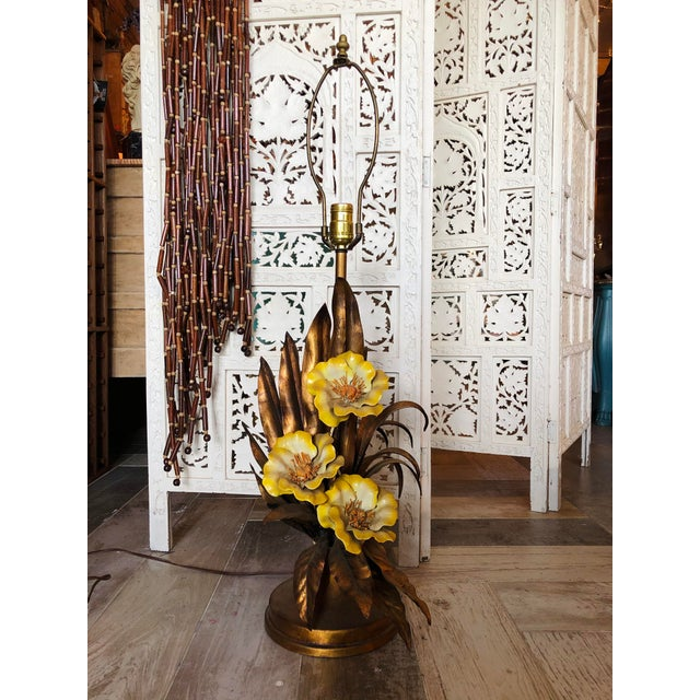Metal Vintage Italian Gold Gilt Tole Table Lamp For Sale - Image 7 of 7