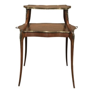 French 2-Tiered Inlaid Tray Table For Sale