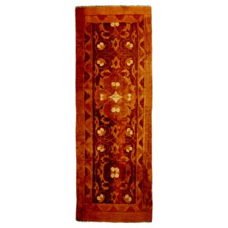 Antique Agra Copper and Brown Geometric-Floral Wool Runner - 2′4″ × 6′11″ For Sale