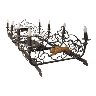 Large French Wrought Iron Chadelier 8 lights