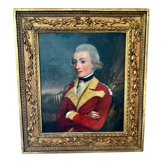 Portrait of Sir Gill Noel in Military Uniform Oil Painting Signed on Verso by Lady Middleton For Sale