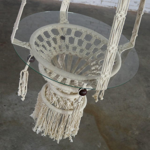 Vintage Bohemian White Macramé Hanging Tables With Round Glass Tops - a Pair For Sale - Image 10 of 14