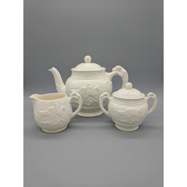 Vintage English Wedgewood Ivory Tea Set - Set of 3 - Horse and Dog Motif For Sale - Image 11 of 11