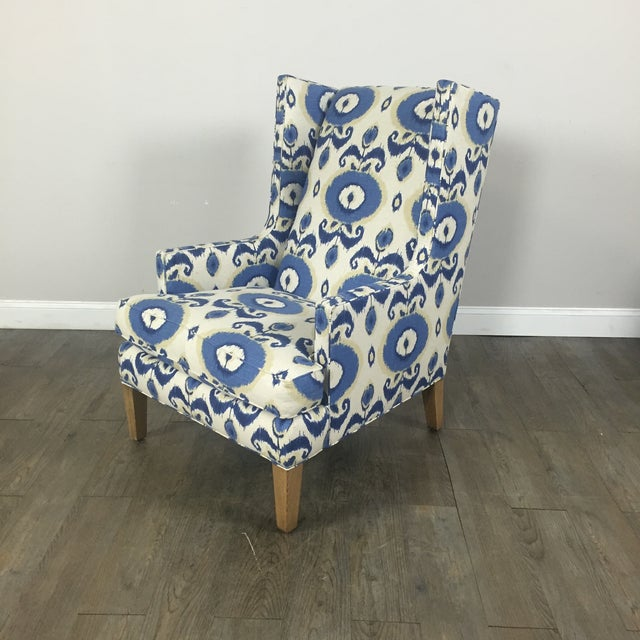 Crate & Barrel Patterned Wingback Chair - Image 2 of 10