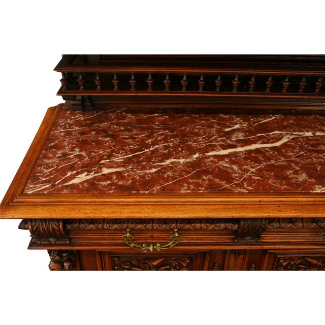Brown 1900 French Renaissance Sideboard Server For Sale - Image 8 of 12