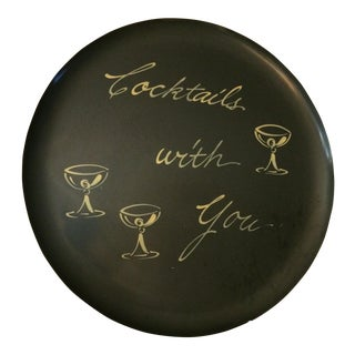 Vintage Cocktails With You Bar Serving Tray For Sale
