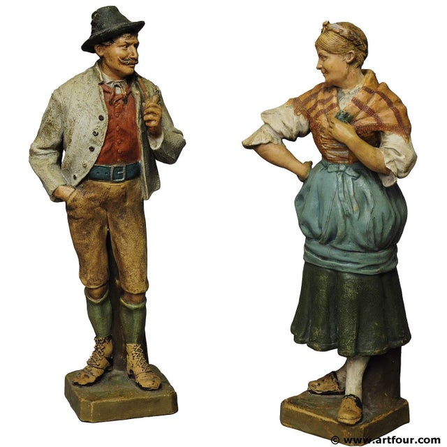 Decorative Folksy Couple Stoneware Figures For Sale - Image 10 of 10
