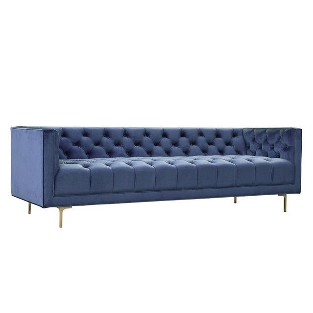 Mid-Century Modern Midcentury Blue Tufted Sofa For Sale - Image 3 of 3
