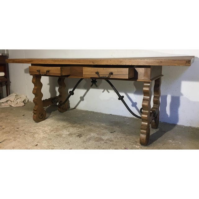 18th Century Baroque Original Farm Refectory Desk Table With Two Drawers For Sale - Image 4 of 11