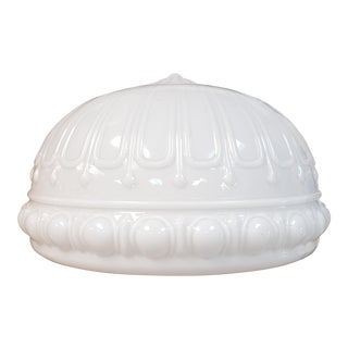 1930's Art Deco Milk Glass Ribbed Dome Pendant Light Fixture Converted Lamp For Sale