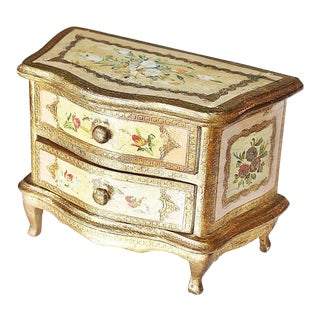 1960s Italian Venetian Painted Miniature Commode Chest For Sale