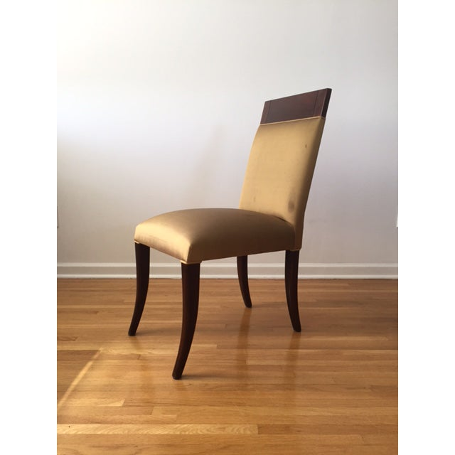 Art Deco Sergio Savarese Dialogica High Back Wood and Fabric Dining Chairs - Set of 6 For Sale - Image 3 of 13