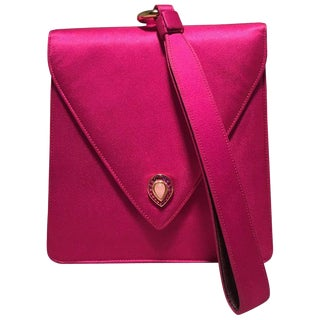 Judith Leiber Vintage Hot Pink Silk Evening Bag Wristlet For Sale
