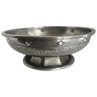 Footed Pewter Bowl With Geometric Details For Sale