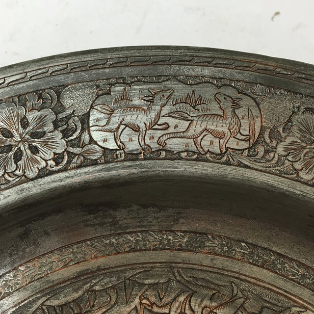 Antique Persian Etched Tinned Copper Plate For Sale - Image 5 of 8