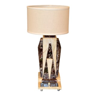 Art Deco Italian Marble & Chrome Bedside Table Lamp With Round Shade For Sale