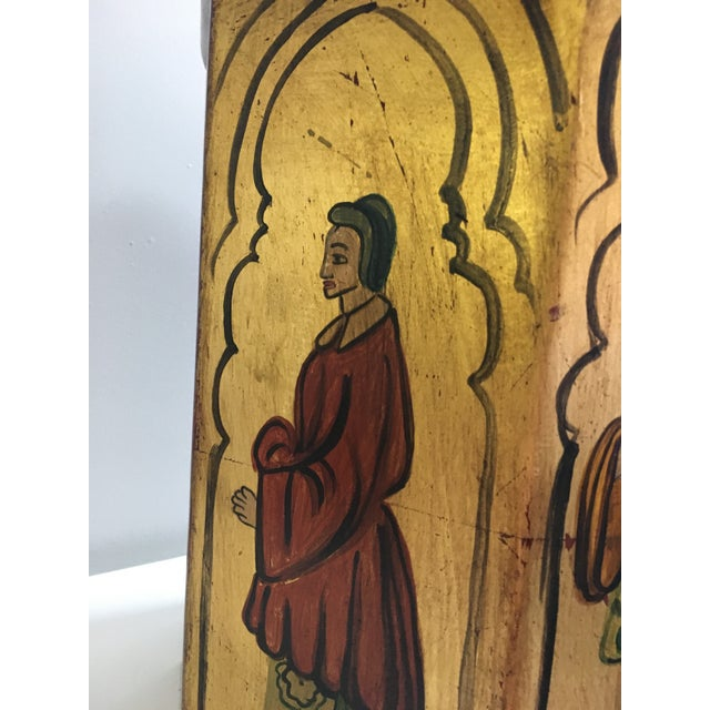 Vintage Tole Octogan Hand Painted Lamp - Image 9 of 11
