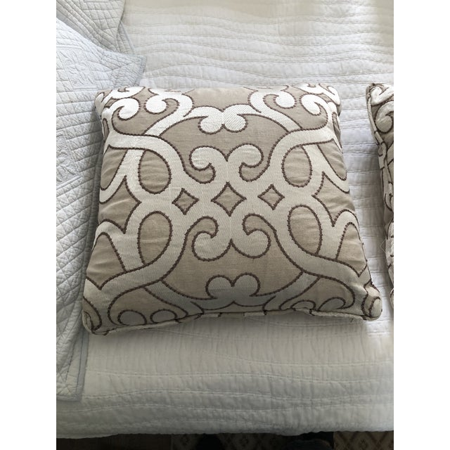 """Scalamandre Damascus Embroidery Square 18"""" Pillows (3 Available) For Sale - Image 10 of 13"""