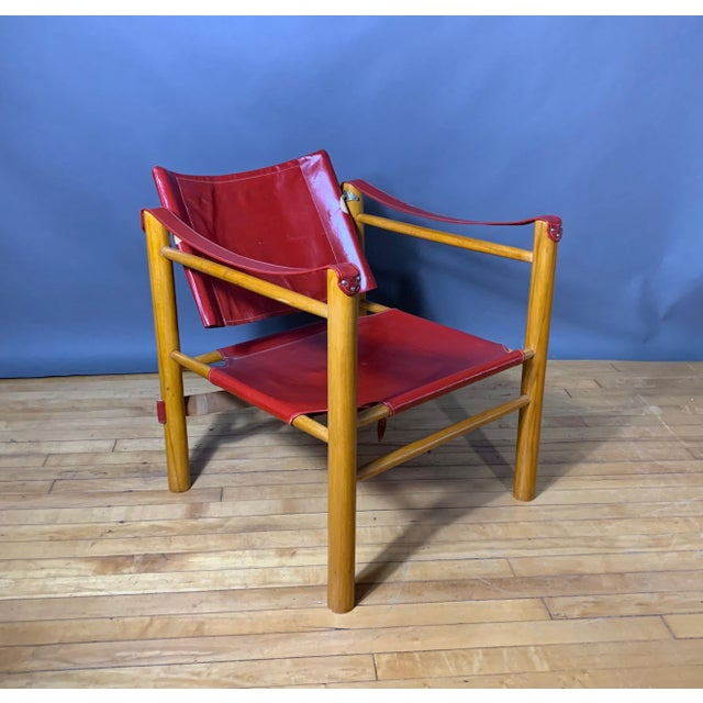 Red Leather and Birch Safari Chair, 1980s For Sale In New York - Image 6 of 9
