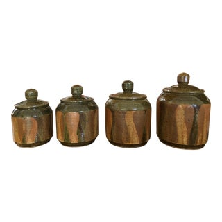 Artisan Studio Made Clay Pottery Lidded Containers - Set of 4 For Sale