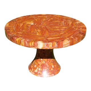 Vintage Muller's of Mexico Red Onyx Round Pedestal Dining Table For Sale