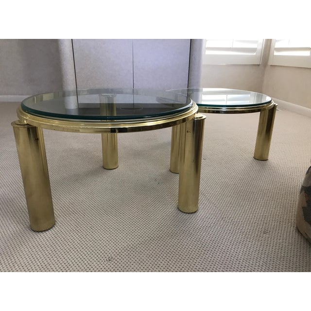 Mid-Century Brass & Glass Nesting Coffee Tables