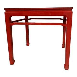 Asian Ming Style Red Lacquered Chinese Chippendale Coffee/Side Table For Sale
