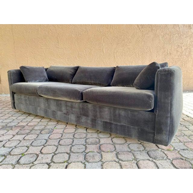 Henredon Restored 70s Gray Velvet Tuxedo Sofa For Sale - Image 4 of 9