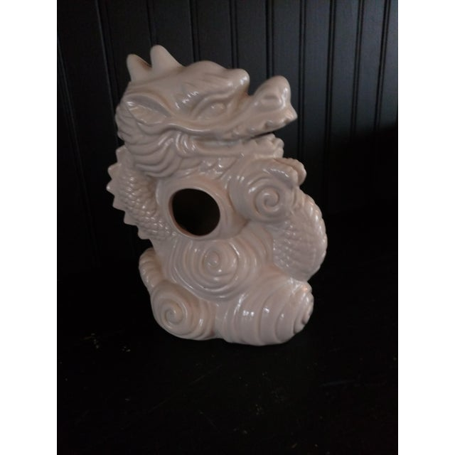 """Chinese White porcelain vase. Dragon motif. 10"""" tall. Excellent condition."""