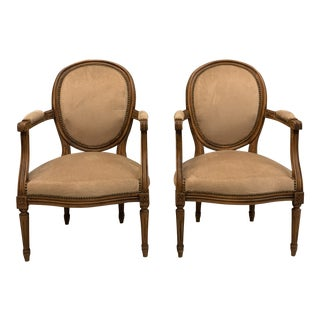 French Louis XVl Solid Mahogany Accent Chairs or Bergeres Chairs 1910s - a Pair For Sale