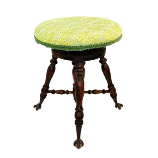 Antique Piano Stool With Claw and Ball Glass Feet