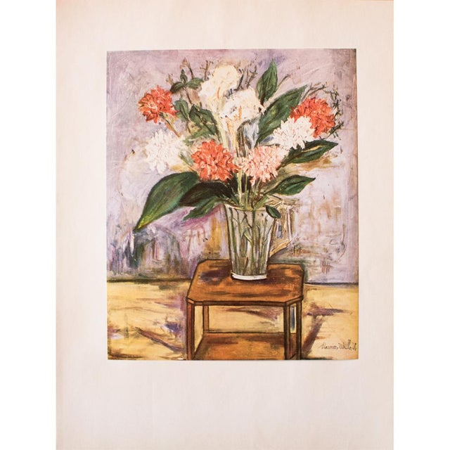 "Lithograph 1950s Maurice Utrillo, First Edition Period Lithograph ""Flower Still Life"" For Sale - Image 7 of 8"