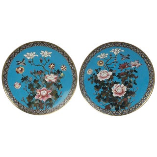 Pair of Japanese Cloisonné Meiji Period Chargers For Sale