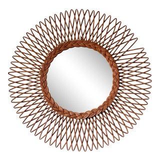 20th Century French Wicker Rattan Sunburst Mirror For Sale