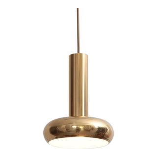 One of Five Danish Modern Brass Pendant Lamps with Authentic Patina For Sale