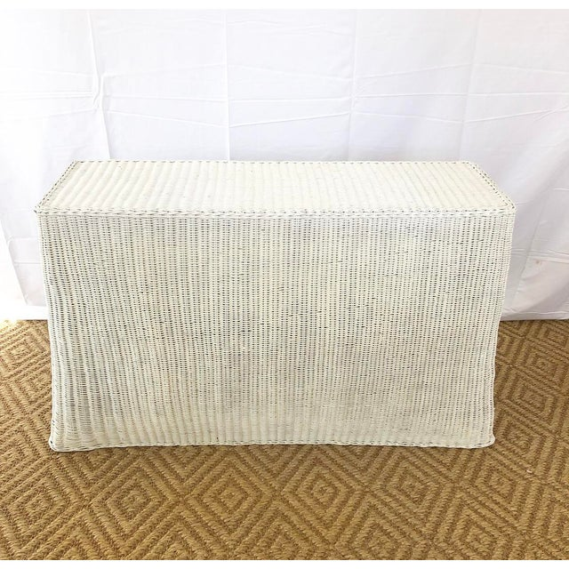 Vintage White Wicker Ghost Trompe L' Oeil Console For Sale - Image 4 of 13