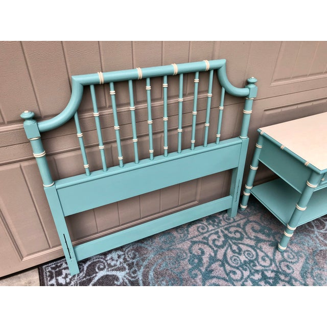 Sweet light teal headboard and matching nightstand. The color is beautiful and serene and the hand painted cream color...