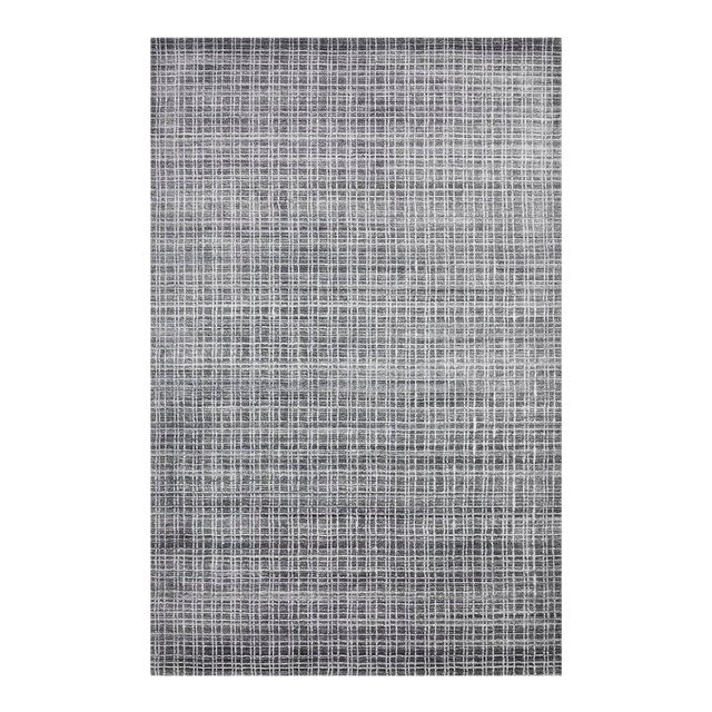 Wesley, Contemporary Modern Loom Knotted Area Rug, Charcoal, 4 X 6 For Sale