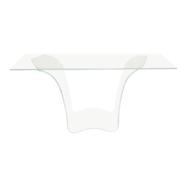 Late 20th Century Vintage Fiam Style All Glass Ghost Console Table For Sale