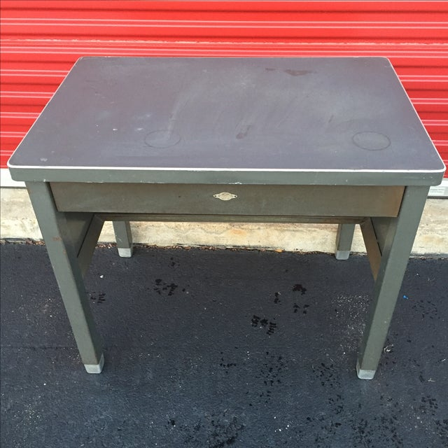 Industrial Age Desk With Drawer by Art Steel For Sale - Image 5 of 11
