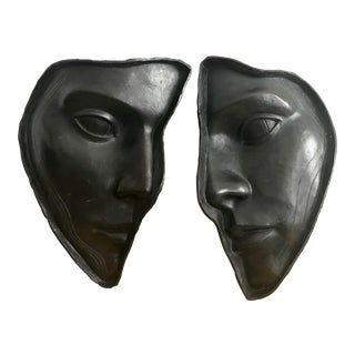 Bronze Wall Sculptures of Faces - A Pair